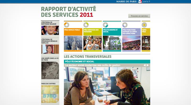 Rapport d'activité de la ville de Paris - Homepage