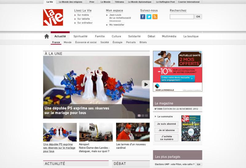 Homepage du site La Vie